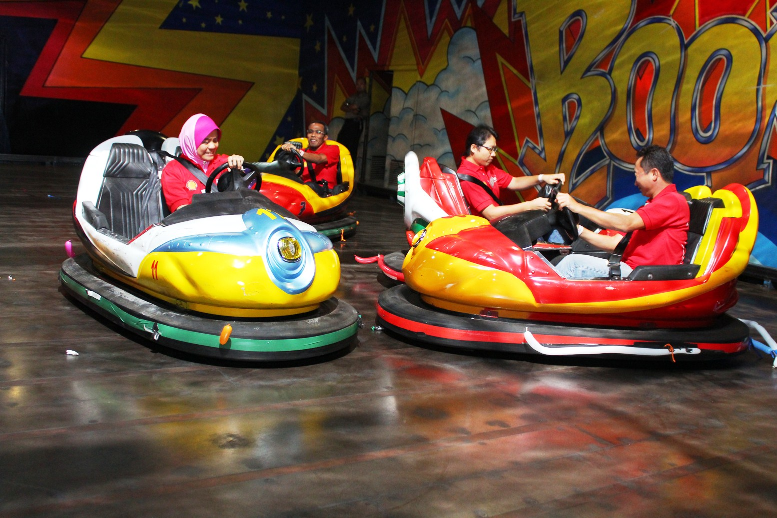 excited bumper cars